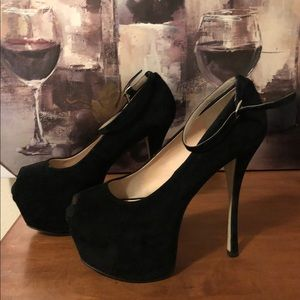 Shoes - Faux Suede Peep Toe - Worn Once